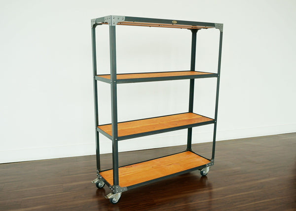 custom handmade retail industrial display shelf on wheels online Toronto
