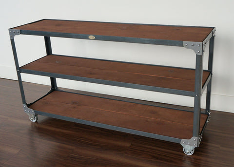 high end long horizontal steel and wood industrial shelf console online Canada