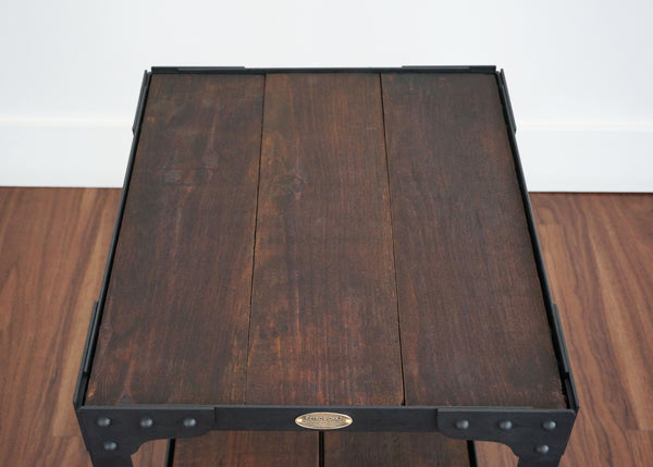coolest industrial wood top side table