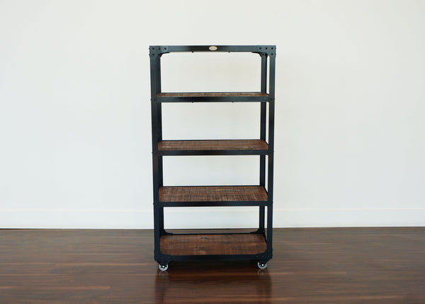 best handmade steel and wood shelf on casters in canada