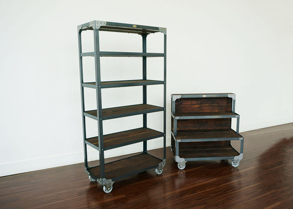 industrial style steel and wood merchandise display fixture shelf on wheels online Toronto