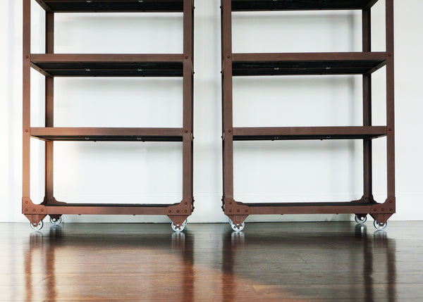 matching metal and wood industrial bookcases on wheels online