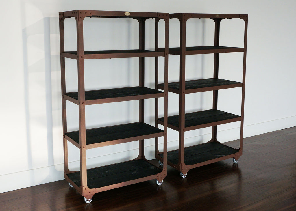 antique tiers metal on max wheels bookshelf industrial shelves wood and walnut bookcases bookcase
