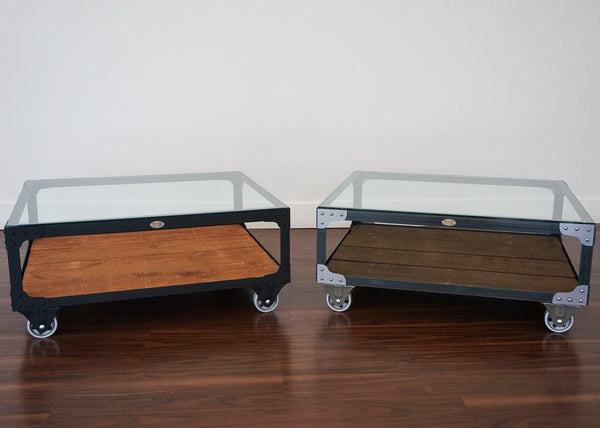 steel and wood coffee tables on wheels
