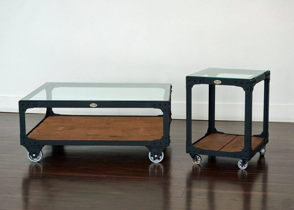 matching metal and wood coffee table and end table