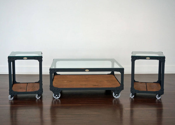matching steel and wood coffee table and end table set