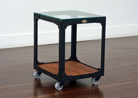 industrial end table on wheels