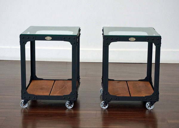 industrial end table set on wheels