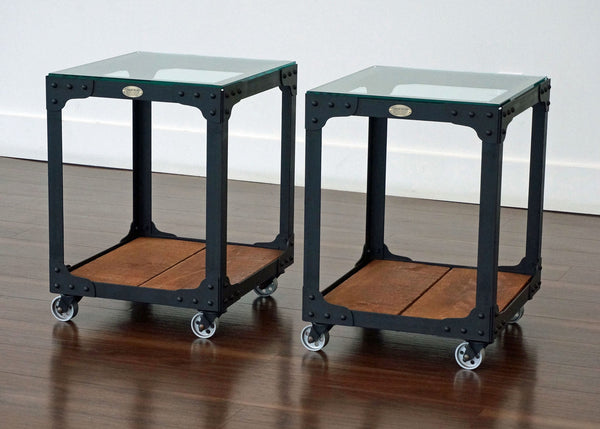 metal and wood end table on wheels