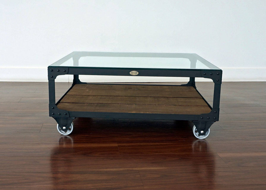metal and wood coffee table on wheels
