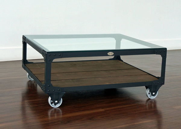 industrial coffee table on casters