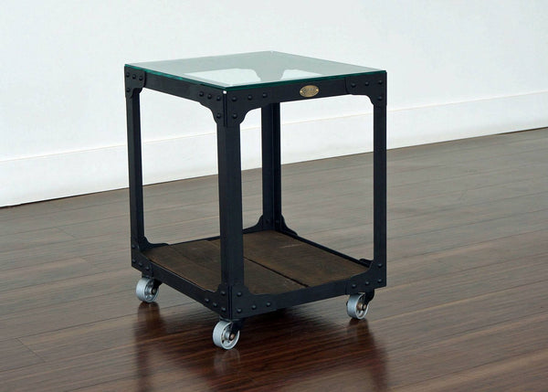 steel and wood end table on wheels