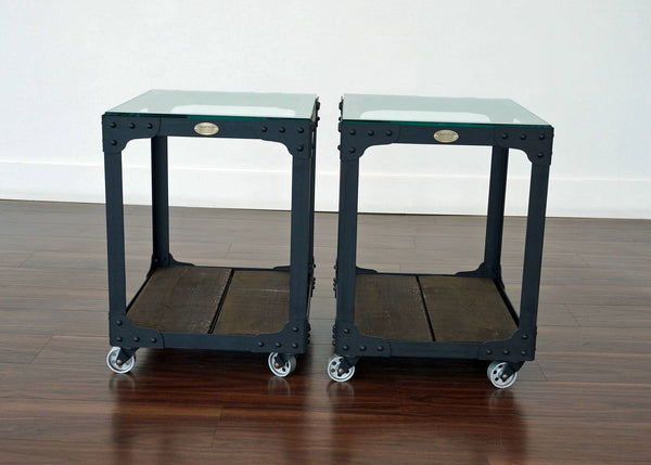 industrial end table set on casters