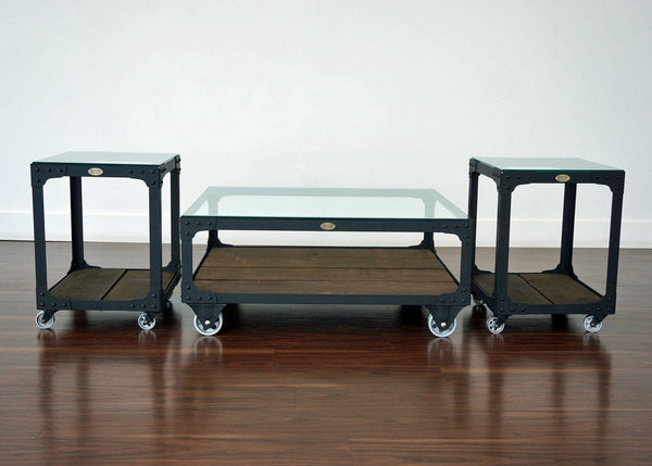 matching metal and wood coffee table and end table set