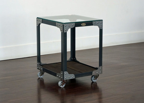 Matching Industrial Glass Top End Tables - Aircraft Factory Tool Trolley Set