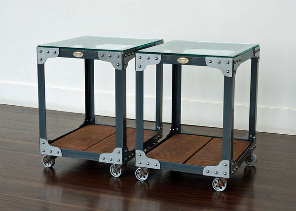 metal and wood end tables on wheels