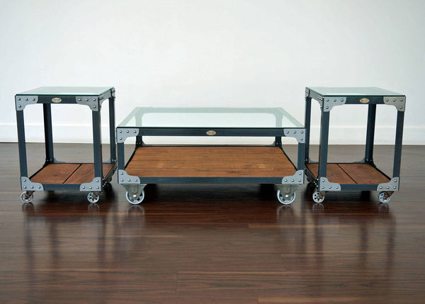 matching industrial coffee table and end table set