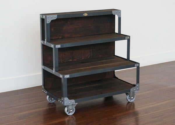 best handmade industrial style steel and wood end cap fixture on wheels Toronto