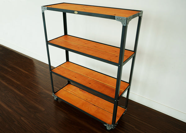 rustic retail steel and wood merchandise display shelf