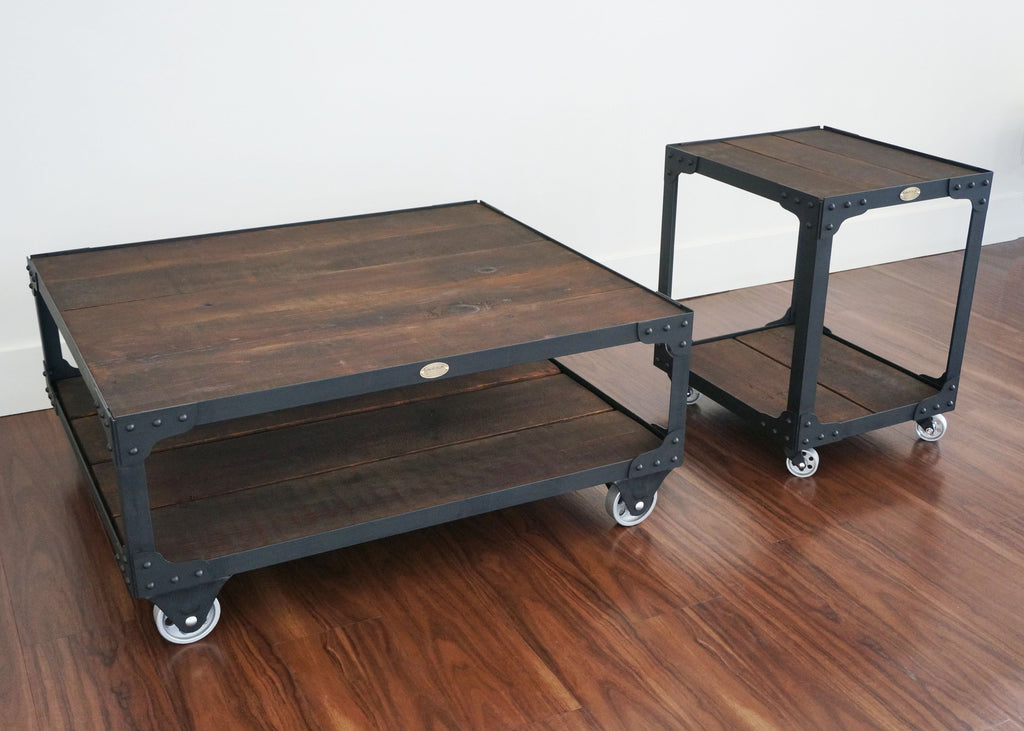Wood And Steel Industrial Coffee Table And End Table Set On Wheels
