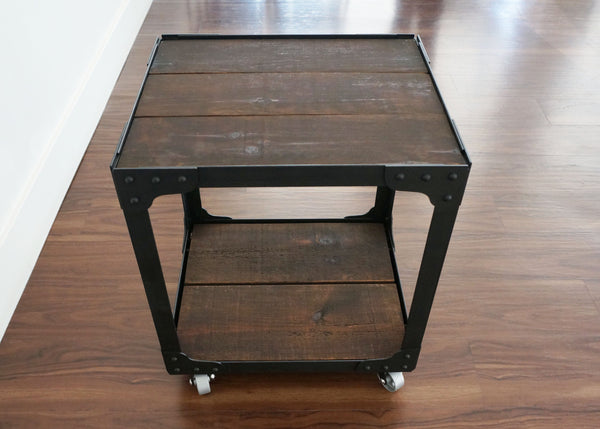 best industrial side table on wheels online wood top