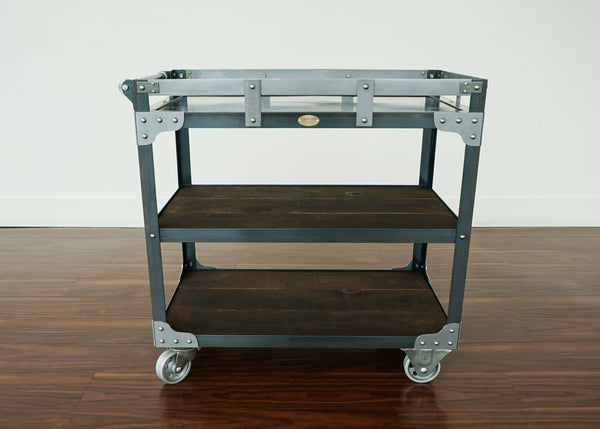 handmade metal and wood bar cart on casters online ontario