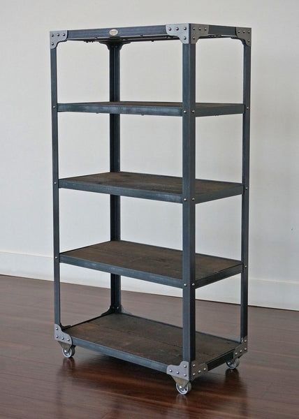 Matching Industrial Furniture - Bookcase and a Glass Top End Table Set