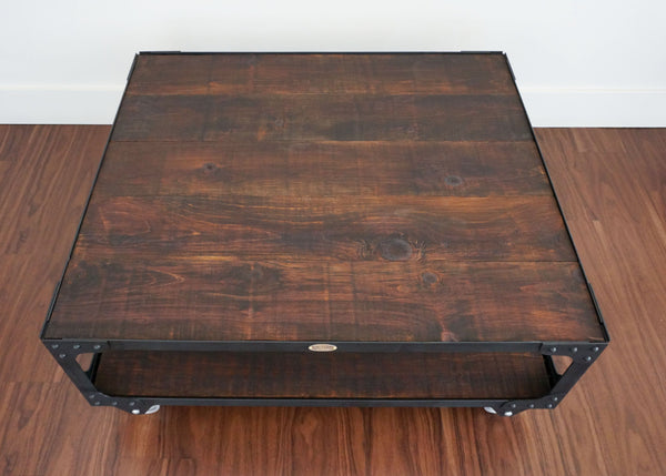 Toronto Industrial wood top coffee table on wheels online