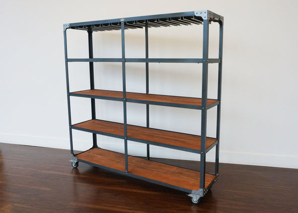 best matching industrial bar shelf set on wheels with stemware rack