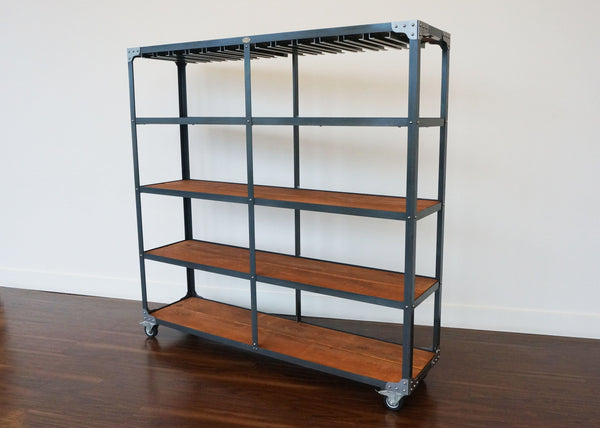 best steel and wood industrial bar shelf on wheels for hospitality