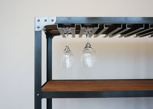best handmade mobile matching industrial style bar shelving with stemware rack