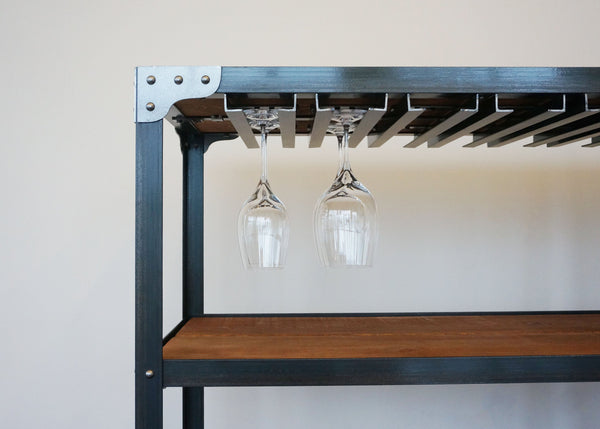 mobile bar shelf on casters with stemware racks