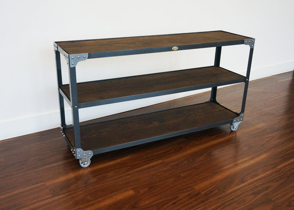 Industrial steel and wood open console shelf