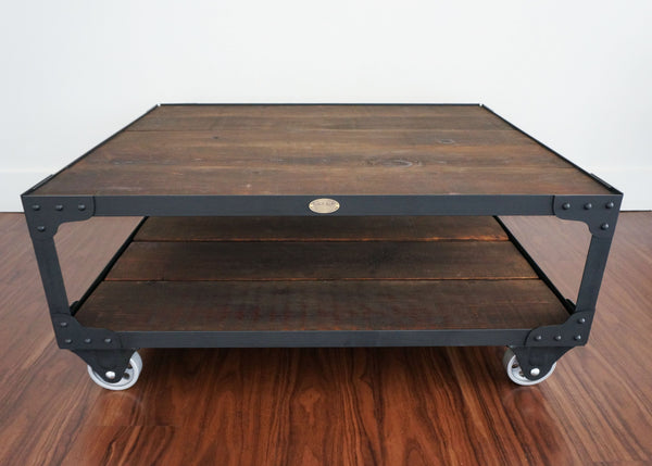 best metal and wood top coffee table on casters Canada and United States