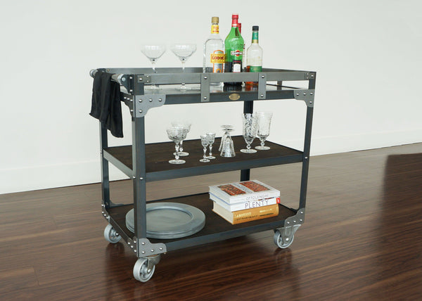 steel and wood industrial bar cart on wheels online canada