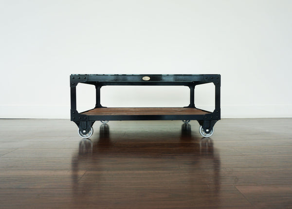 Industrial Glass Top Coffee Table - Paper Mill Cart