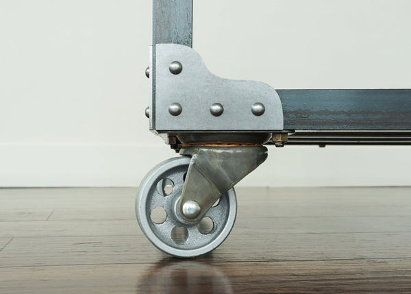 metal and wood industrial bar cart casters online
