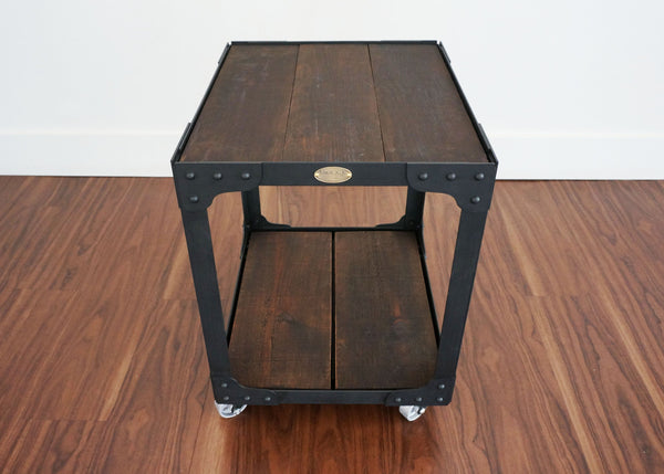 steel and wood side table on casters ideal for cottage or home