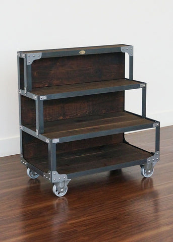 industrial steel and wood display end cap unit on wheels online