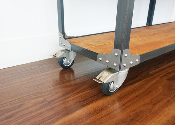 best matching metal and wood bar shelving on wheels
