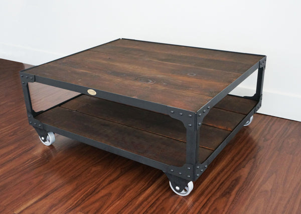 best handmade industrial wood top coffee table Toronto online