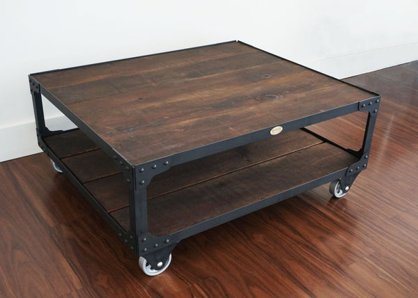 cool coffee table steel and wood on wheels online