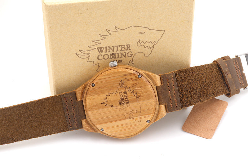 Wolf Engraved Handmade Wooden Watch
