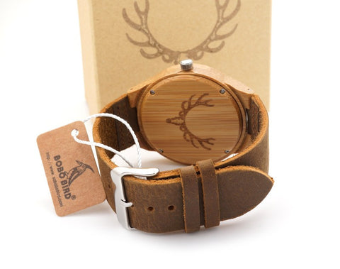 Elk Engraved Handmade Wooden Watch