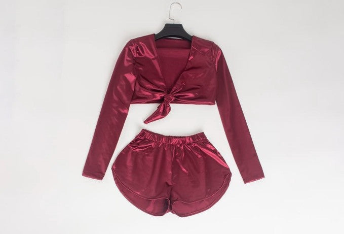 Long Sleeve Satin Two Piece