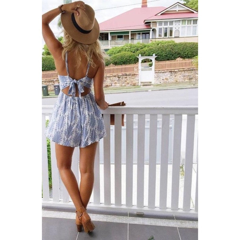 Light Blue Paisley Print Romper