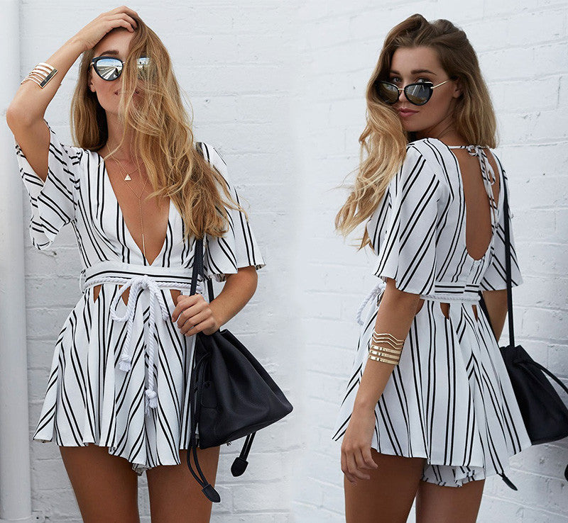 Deep V Neck Striped Romper
