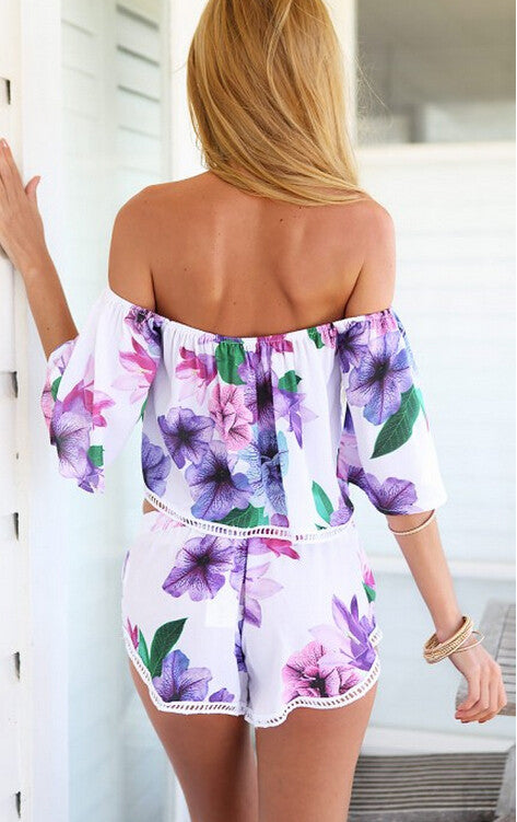 Purple Floral Print Two Piece