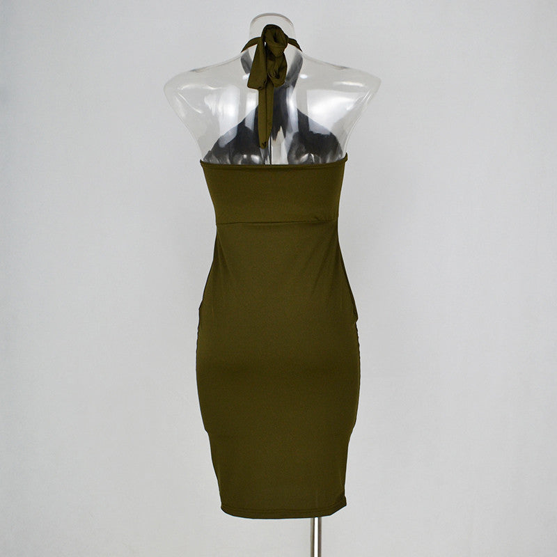 Khaki Choker Club Dress