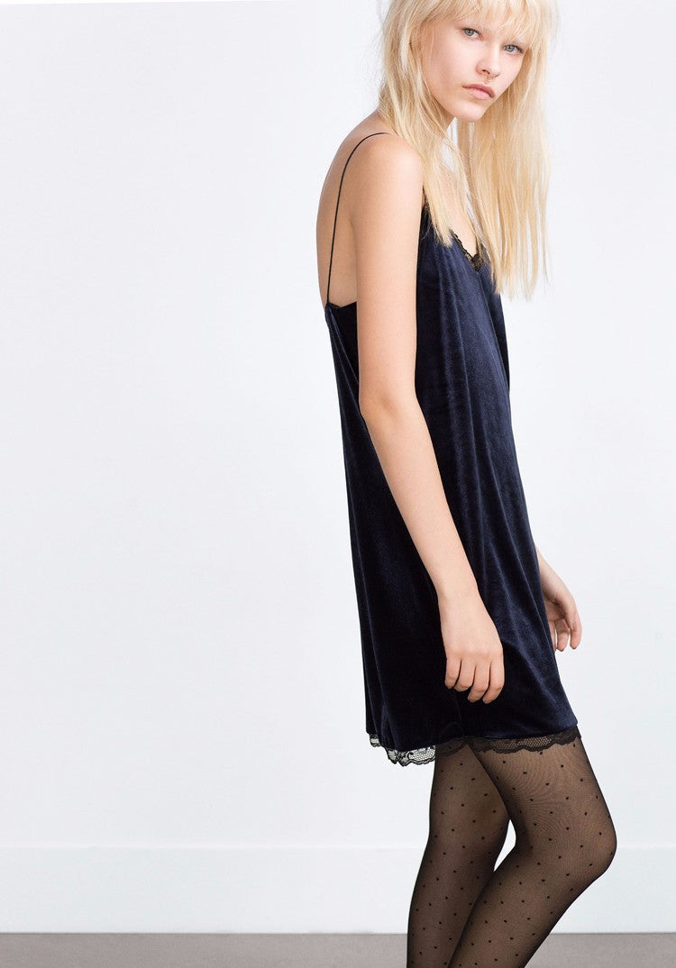 Lace Velvet Slip Dress